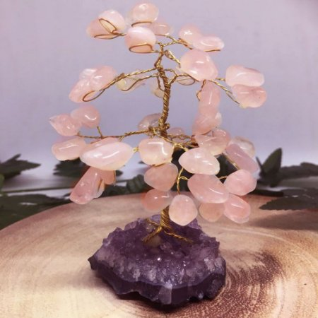 Árvore de Pedra Quartzo Rosa 13cm