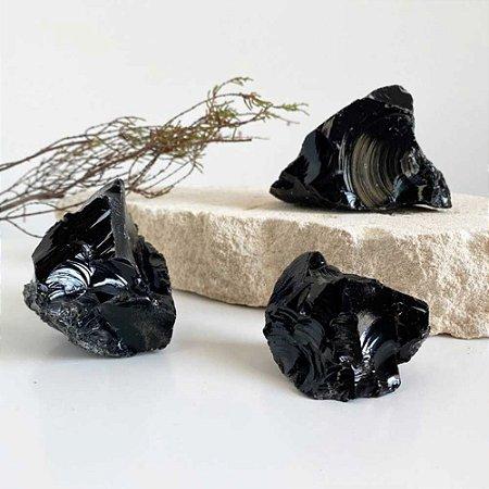 Obsidiana Negra Pedra Bruta 100g