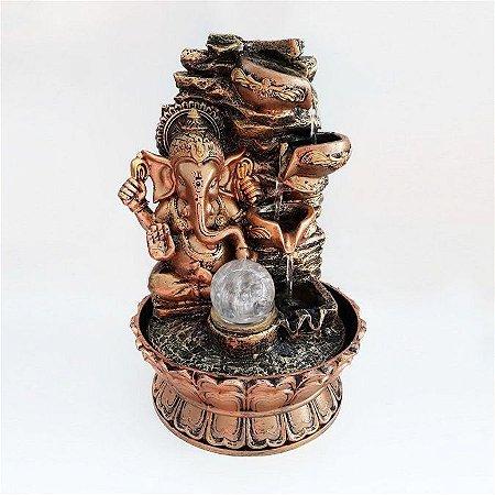 Fonte de Água Decorativa Ganesha Dourada