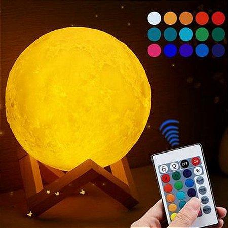 Luminária Lua Cheia Colorida Controle Remoto