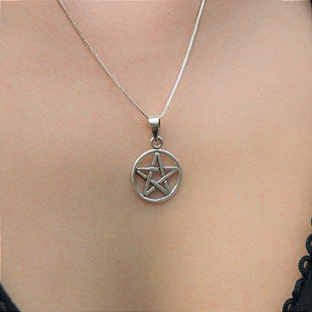 Gargantilha Pentagrama Prata 950