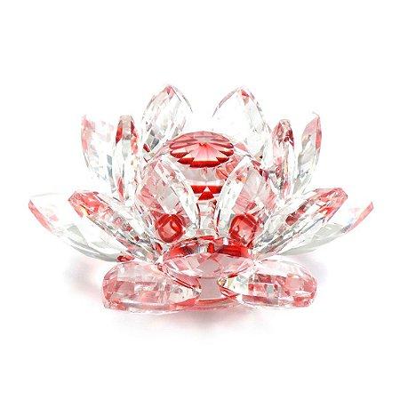 Flor de Lótus de Cristal Efeito Vermelho