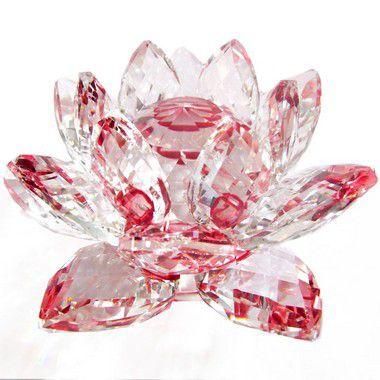 Flor de Lótus de Cristal Efeito Vermelho P