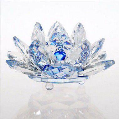 Flor de Lótus de Cristal M Efeito Azul