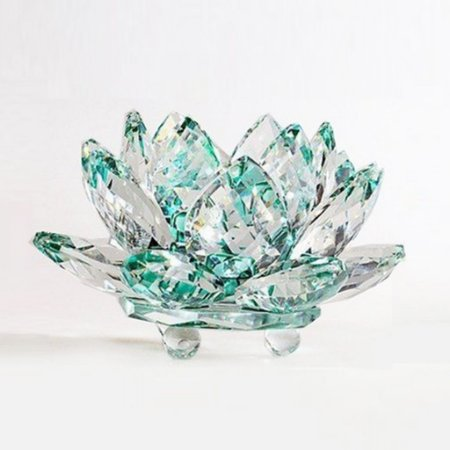 Flor de Lótus de Cristal P Efeito Verde