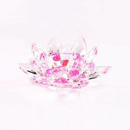 Flor de Lótus de Cristal Efeito Rosa P