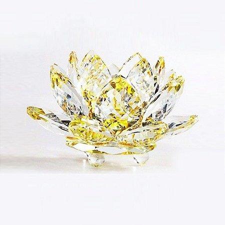 Flor de Lótus de Cristal Efeito Amarelo P