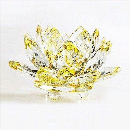 Flor de Lótus de Cristal Efeito Amarelo M