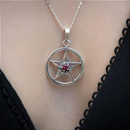 Pingente Pentagrama Pedra Zircônia  - Prata 950