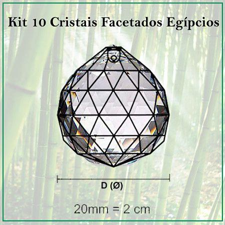 Kit 10 Cristais Facetados Feng Shui Egípcio 20mm