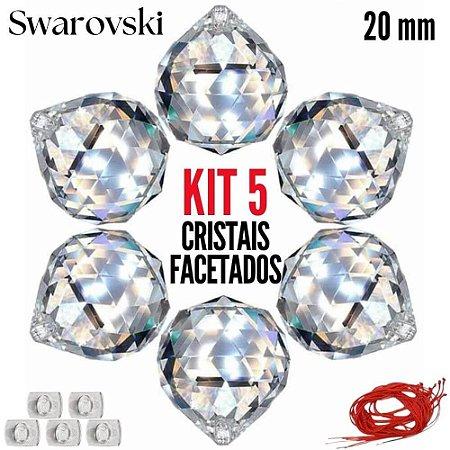 Kit 5 cristais Facetados Feng Shui Swarovski 20mm
