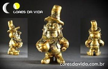 Gnomo Leprechaun porta incenso (nas cores ouro e cobre - valor unitário)