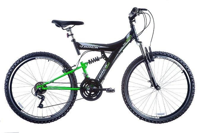 Bicicleta TB-300 Aro 26  Suspensão Aero 18 Marchas Preto/Verde neon - Track & Bikes