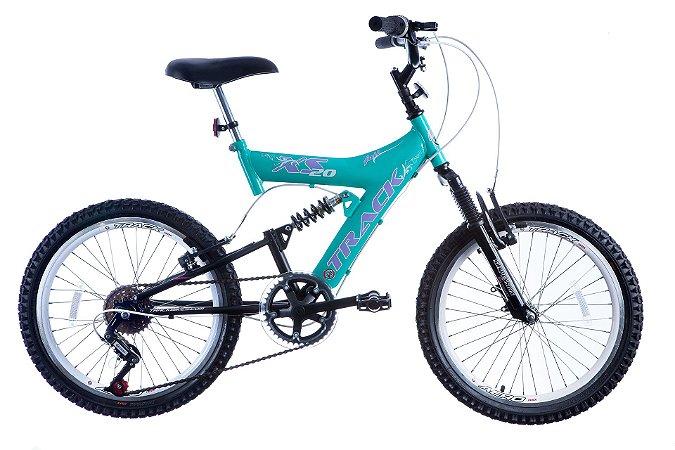 Bicicleta Aro 20 Dupla Suspensão 6V XS 20 Full Azul Claro/Preto - Track & Bikes