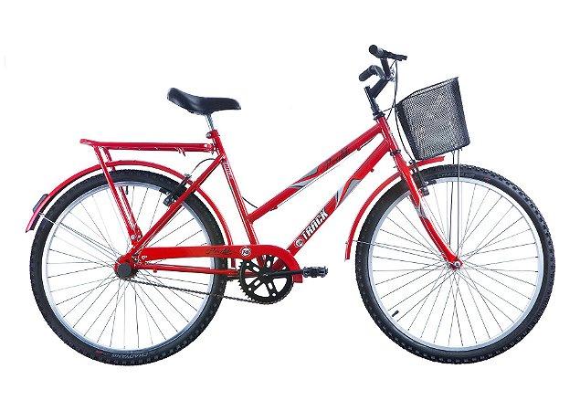 """Bicicleta Practise Aro 26"""" Utilitária com Cesta Aramada Vermelho - Track & Bikes"""