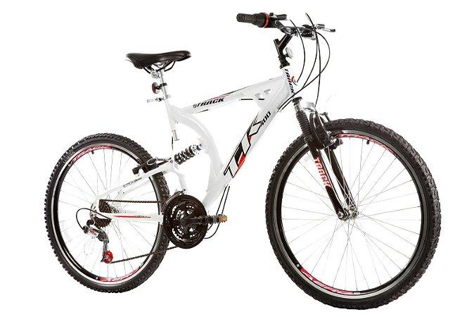 Bicicleta TK400 Aro 26 Full Suspension Alumínio 21 Velocidades Branco - Track & Bikes