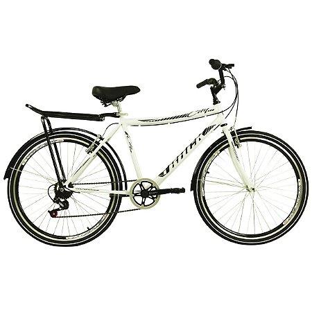 Bicicleta City Urb - 7v Aro 26  Modelo Urbana com Bagageiro Branco - Track & Bikes