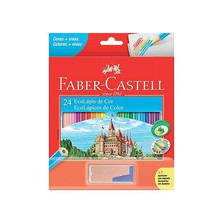 Ecolápis De Cor Faber-castell 24 Cores + Apontador Com Depósito