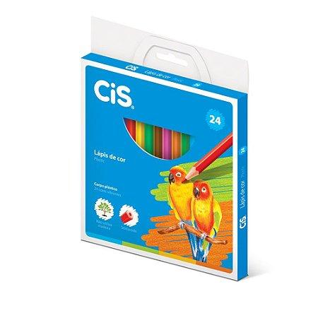 Lápis De Cor Sextavado Cis Plastic 24 Cores