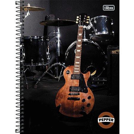 Caderno Universitário Tilibra Pepper Guitarra 10x1 160 Fls