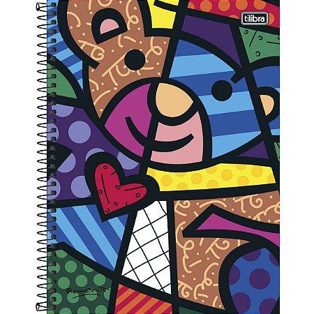 Caderno Universitário Tilibra Romero Britto Urso 10 matérias 200 Folhas