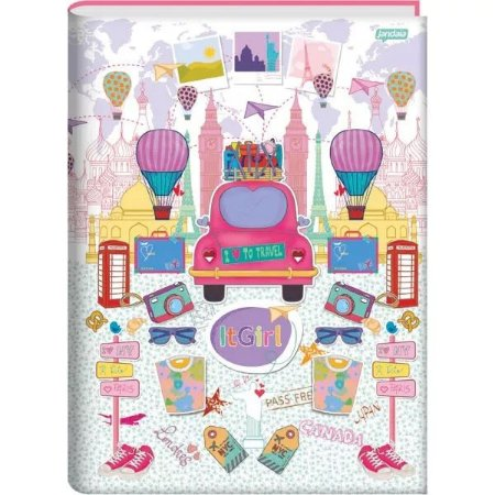 Caderno De Brochura 1/4 Jandaia It Girl Travel 96 Folhas