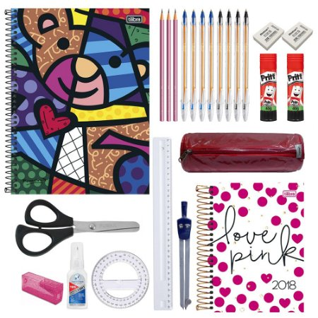 Kit Escolar Ensino médio Fem. C/ 1 Caderno 10 matérias Romero Britto, 1 Agenda, Calculadora Científica E Mais