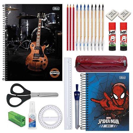 Kit Escolar Ensino médio Masc. C/ 1 Caderno 10 matérias Pepper Guitarra, 1 Agenda, Calculadora Científica E Mais