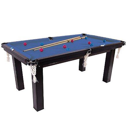 Mesa de Snooker Residencial 1,87x1,08cm Tecido Azul - Procópio