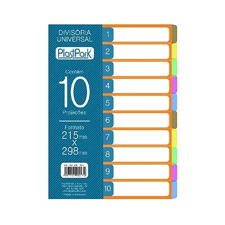 Divisória para Fichário Universal PlastPark 10 Projeções 215 mm x 298 mm