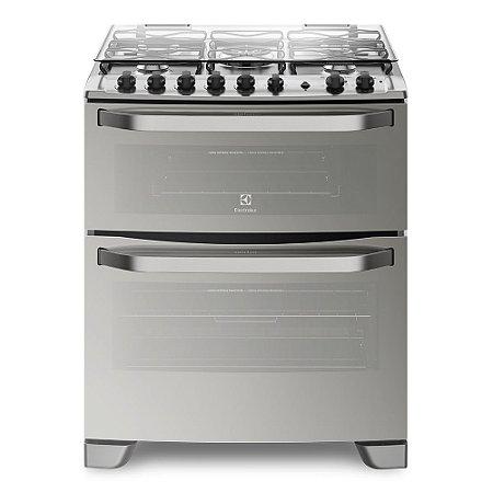 Fogão Electrolux 76MDX Porta Full Glass e duplo forno 5 queimadores de piso Prata