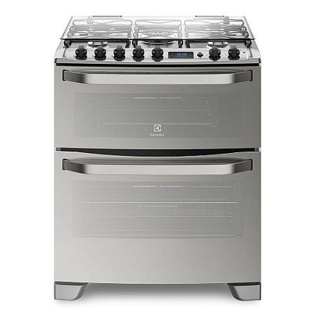 Fogão Electrolux 76XDR Porta Full Glass e duplo forno 5 queimadores de piso Prata