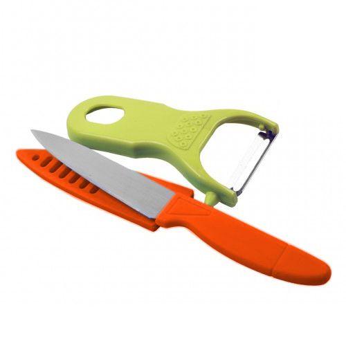 Conjunto Descascador e Faca para Frutas AES Laranja/Verde