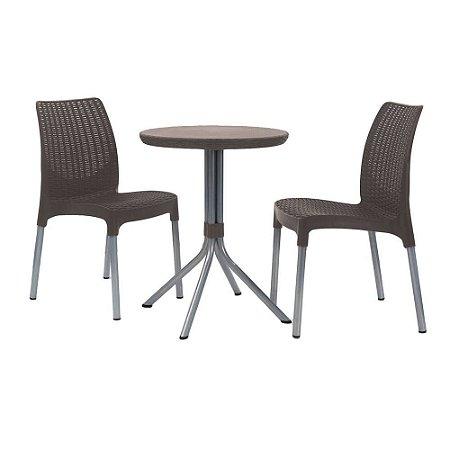 Conjunto de Mesa e Cadeiras Chelsea Patio Set Keter Marrom