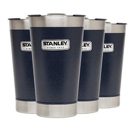 Conjunto 4 Copos Térmicos de Cerveja com Tampa Stanley 473ml Azul Marinho