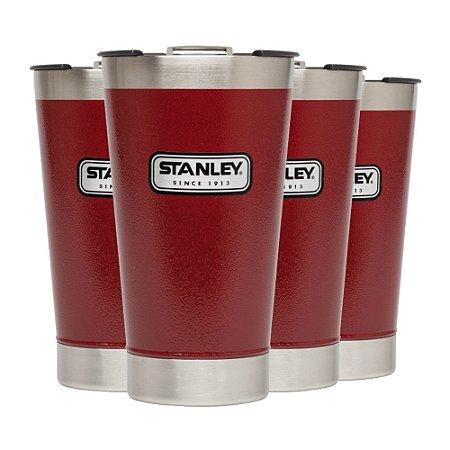 Conjunto 4 Copos Térmicos de Cerveja com Tampa Stanley 473ml Vermelho Crimson