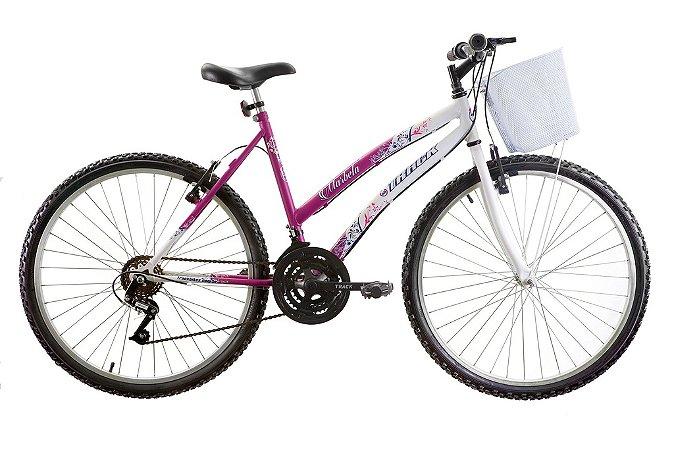 Bicicleta Aro 26 Marbela 18 Marchas Magenta/Branco- Track & Bikes