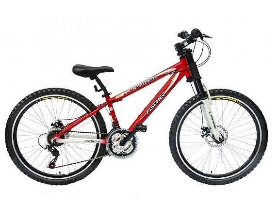 Bicicleta Extreme Aro 26 c/ 21 Marchas Vermelho/Branco - Fischer