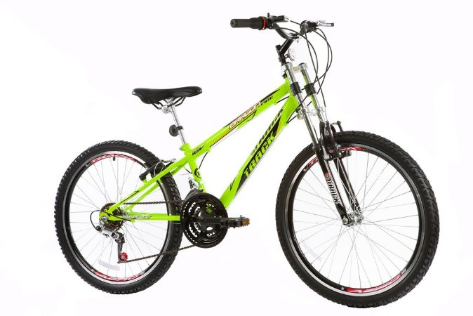 "Bicicleta Dragon Fire Aro 24"" 18 Marchas Amarelo Neon - Track & Bikes"