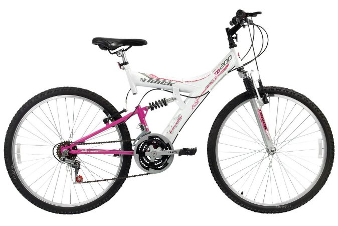 Bicicleta Tb-200 Full Suspension Aro 26 18 Branco/Magenta - Track & Bikes