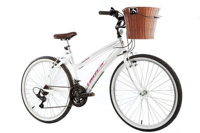 "Bicicleta Week 200 Plus Alumínio Aro 26"" 21 Velocidades Confort Branco - Track & Bikes"