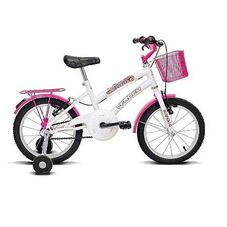 """Bicicleta infantil Aro 16"""" Breeze Branco e Rosa - Verden Bikes"""