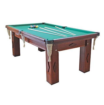 Mesa de Snooker Mogno com Pedra Ardósia Tecido Verde - Procópio