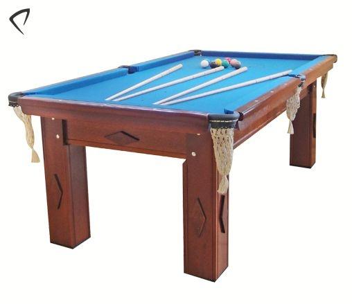 Mesa de Snooker Mogno com Pedra Ardósia Tecido Azul - Procópio