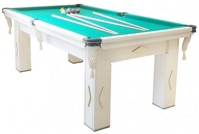 Mesa de Snooker Branca com Pedra Ardósia Tecido Verde - Procópio