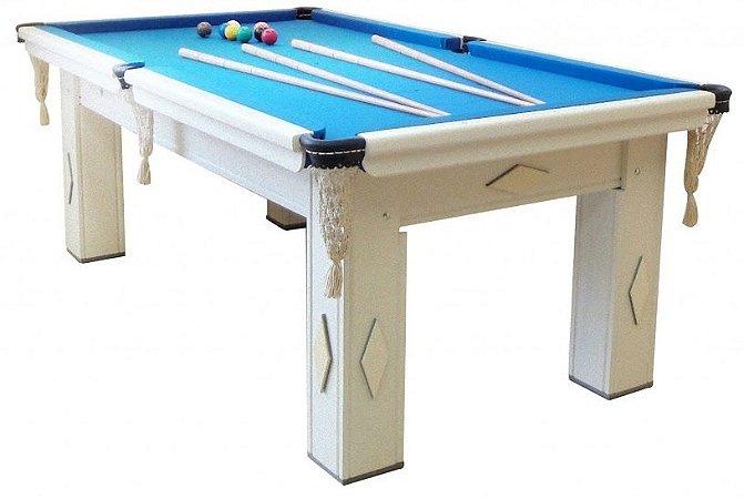 Mesa de Snooker Branca com Pedra Ardósia Tecido Azul - Procópio