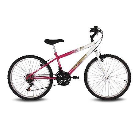 Bicicleta Aro 24 Live Rosa/Branco 18 velocidades - Verden