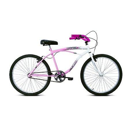 Bicicleta Aro 26 Confort Rosa/Branco - Verden