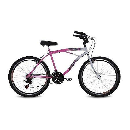 Bicicleta Aro 26 Confort 21V Rosa/Branco - Verden