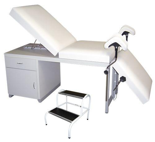 Conjunto Mesa Ginecológica Luxo para Exames de Ultrassonografia Completa e Escada de Dois Degraus Pintada
